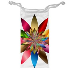 Chromatic Flower Gold Rainbow Jewelry Bag by Alisyart