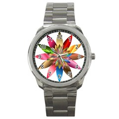 Chromatic Flower Gold Rainbow Sport Metal Watch by Alisyart
