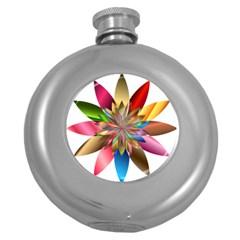 Chromatic Flower Gold Rainbow Round Hip Flask (5 Oz) by Alisyart