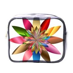 Chromatic Flower Gold Rainbow Mini Toiletries Bags by Alisyart