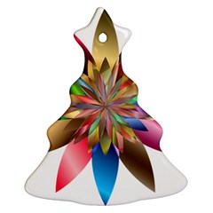 Chromatic Flower Gold Rainbow Ornament (christmas Tree)  by Alisyart