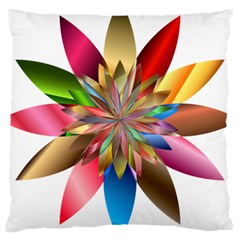 Chromatic Flower Gold Rainbow Large Cushion Case (one Side) by Alisyart
