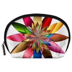 Chromatic Flower Gold Rainbow Accessory Pouches (large)  by Alisyart