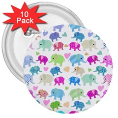 Cute Elephants  3  Buttons (10 Pack)  by Valentinaart