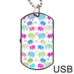 Cute Elephants  Dog Tag Usb Flash (two Sides) by Valentinaart
