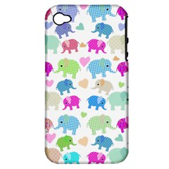 Cute Elephants  Apple Iphone 4/4s Hardshell Case (pc+silicone) by Valentinaart