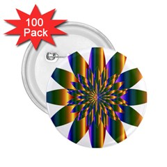 Chromatic Flower Gold Rainbow Star Light 2 25  Buttons (100 Pack)  by Alisyart