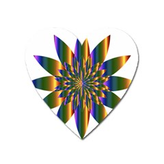 Chromatic Flower Gold Rainbow Star Light Heart Magnet by Alisyart