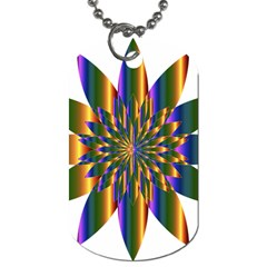 Chromatic Flower Gold Rainbow Star Light Dog Tag (two Sides) by Alisyart