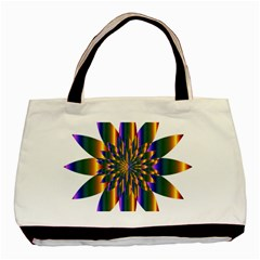 Chromatic Flower Gold Rainbow Star Light Basic Tote Bag (two Sides) by Alisyart