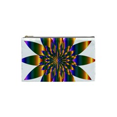 Chromatic Flower Gold Rainbow Star Light Cosmetic Bag (small)  by Alisyart
