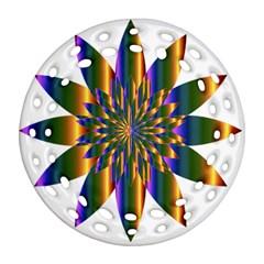 Chromatic Flower Gold Rainbow Star Light Round Filigree Ornament (two Sides) by Alisyart