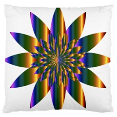 Chromatic Flower Gold Rainbow Star Light Large Flano Cushion Case (two Sides) by Alisyart