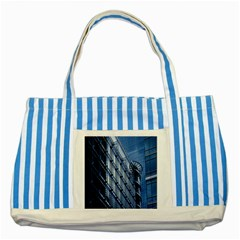 Building Architectural Background Striped Blue Tote Bag by Simbadda