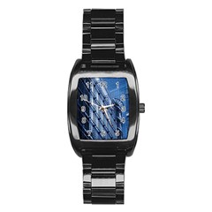 Building Architectural Background Stainless Steel Barrel Watch by Simbadda