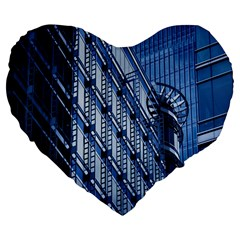 Building Architectural Background Large 19  Premium Flano Heart Shape Cushions by Simbadda