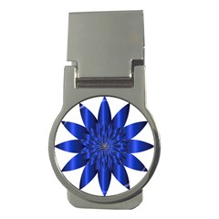 Chromatic Flower Blue Star Money Clips (round)  by Alisyart