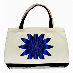 Chromatic Flower Blue Star Basic Tote Bag (two Sides) by Alisyart