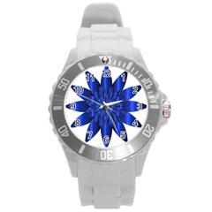 Chromatic Flower Blue Star Round Plastic Sport Watch (l) by Alisyart