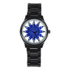 Chromatic Flower Blue Star Stainless Steel Round Watch by Alisyart