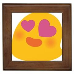 Emoji Face Emotion Love Heart Pink Orange Emoji Framed Tiles