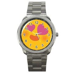 Emoji Face Emotion Love Heart Pink Orange Emoji Sport Metal Watch by Alisyart