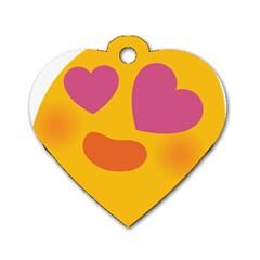 Emoji Face Emotion Love Heart Pink Orange Emoji Dog Tag Heart (one Side) by Alisyart