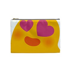 Emoji Face Emotion Love Heart Pink Orange Emoji Cosmetic Bag (medium)  by Alisyart