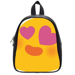 Emoji Face Emotion Love Heart Pink Orange Emoji School Bags (small)  by Alisyart