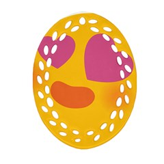 Emoji Face Emotion Love Heart Pink Orange Emoji Oval Filigree Ornament (two Sides) by Alisyart