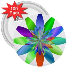 Chromatic Flower Variation Star Rainbow 3  Buttons (100 Pack)  by Alisyart