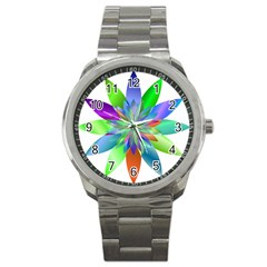 Chromatic Flower Variation Star Rainbow Sport Metal Watch by Alisyart