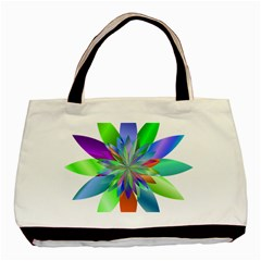 Chromatic Flower Variation Star Rainbow Basic Tote Bag (two Sides) by Alisyart
