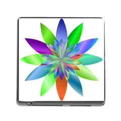 Chromatic Flower Variation Star Rainbow Memory Card Reader (square) by Alisyart