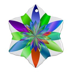 Chromatic Flower Variation Star Rainbow Snowflake Ornament (two Sides) by Alisyart