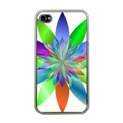 Chromatic Flower Variation Star Rainbow Apple Iphone 4 Case (clear) by Alisyart