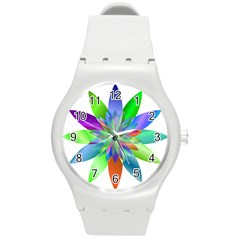 Chromatic Flower Variation Star Rainbow Round Plastic Sport Watch (m) by Alisyart