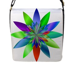 Chromatic Flower Variation Star Rainbow Flap Messenger Bag (l)  by Alisyart