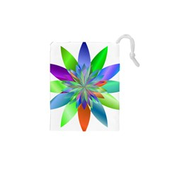 Chromatic Flower Variation Star Rainbow Drawstring Pouches (xs)  by Alisyart