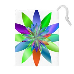 Chromatic Flower Variation Star Rainbow Drawstring Pouches (extra Large) by Alisyart
