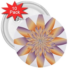 Chromatic Flower Gold Star Floral 3  Buttons (10 Pack)  by Alisyart