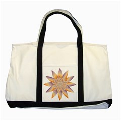 Chromatic Flower Gold Star Floral Two Tone Tote Bag by Alisyart