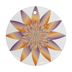 Chromatic Flower Gold Star Floral Round Ornament (two Sides) by Alisyart