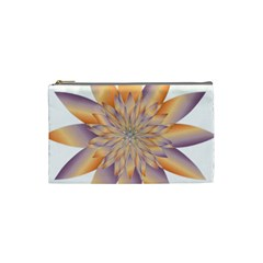Chromatic Flower Gold Star Floral Cosmetic Bag (small)  by Alisyart