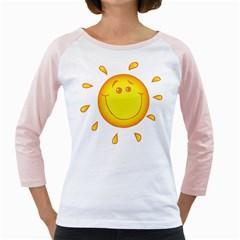 Domain Cartoon Smiling Sun Sunlight Orange Emoji Girly Raglans by Alisyart