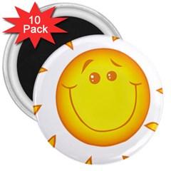 Domain Cartoon Smiling Sun Sunlight Orange Emoji 3  Magnets (10 Pack)  by Alisyart
