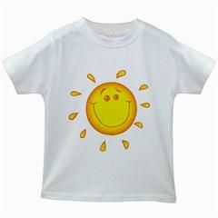 Domain Cartoon Smiling Sun Sunlight Orange Emoji Kids White T Shirts by Alisyart