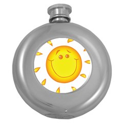 Domain Cartoon Smiling Sun Sunlight Orange Emoji Round Hip Flask (5 Oz) by Alisyart