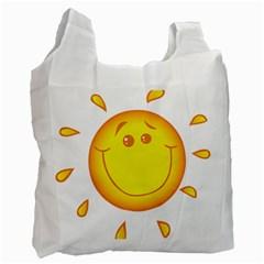 Domain Cartoon Smiling Sun Sunlight Orange Emoji Recycle Bag (two Side)  by Alisyart