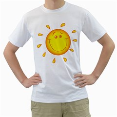 Domain Cartoon Smiling Sun Sunlight Orange Emoji Men s T Shirt (white)  by Alisyart